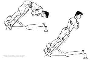 One of many variations of the back extension exercise